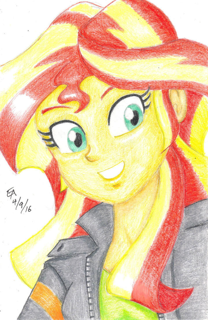 Sunset Shimmer colored pencil portrait by mayorlight