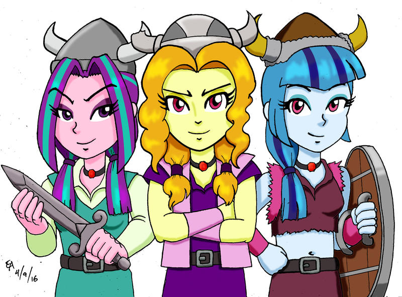 The Dazzlings as the Lost Vikings by mayorlight