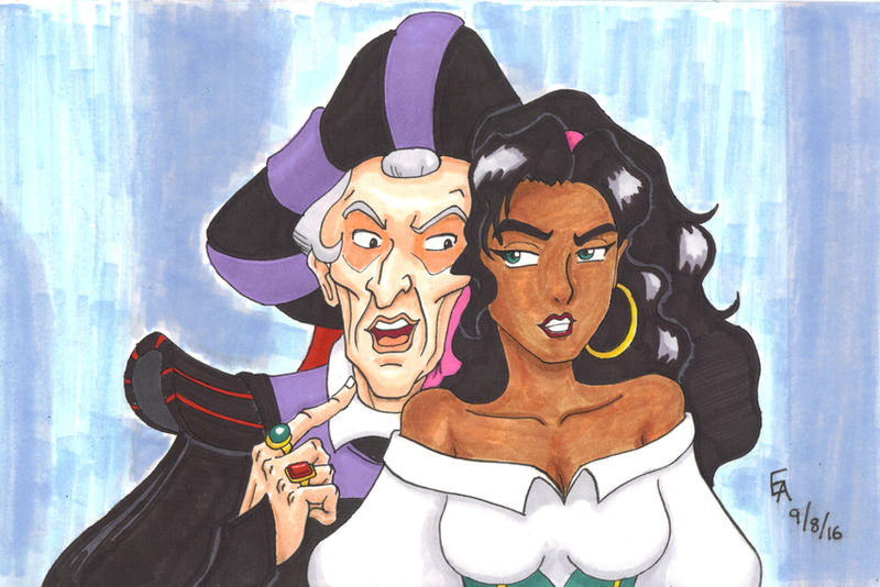 Frollo and Esmeralda by mayorlight