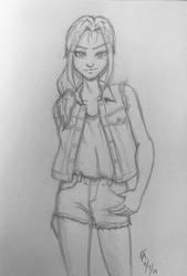Amira denim outfit sketch