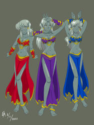 Commission: Drow Dancer Trio Redux