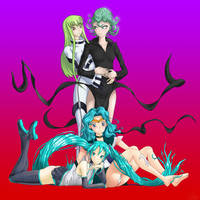 Cool Haired Anime Chicks (Tacky Background)