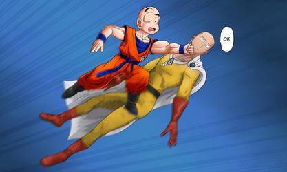 Krillin Punching Saitama OK by uzersname