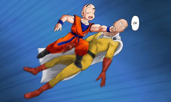 Krillin Punching Saitama OK