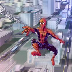 Spider-Man Swinging Through a City