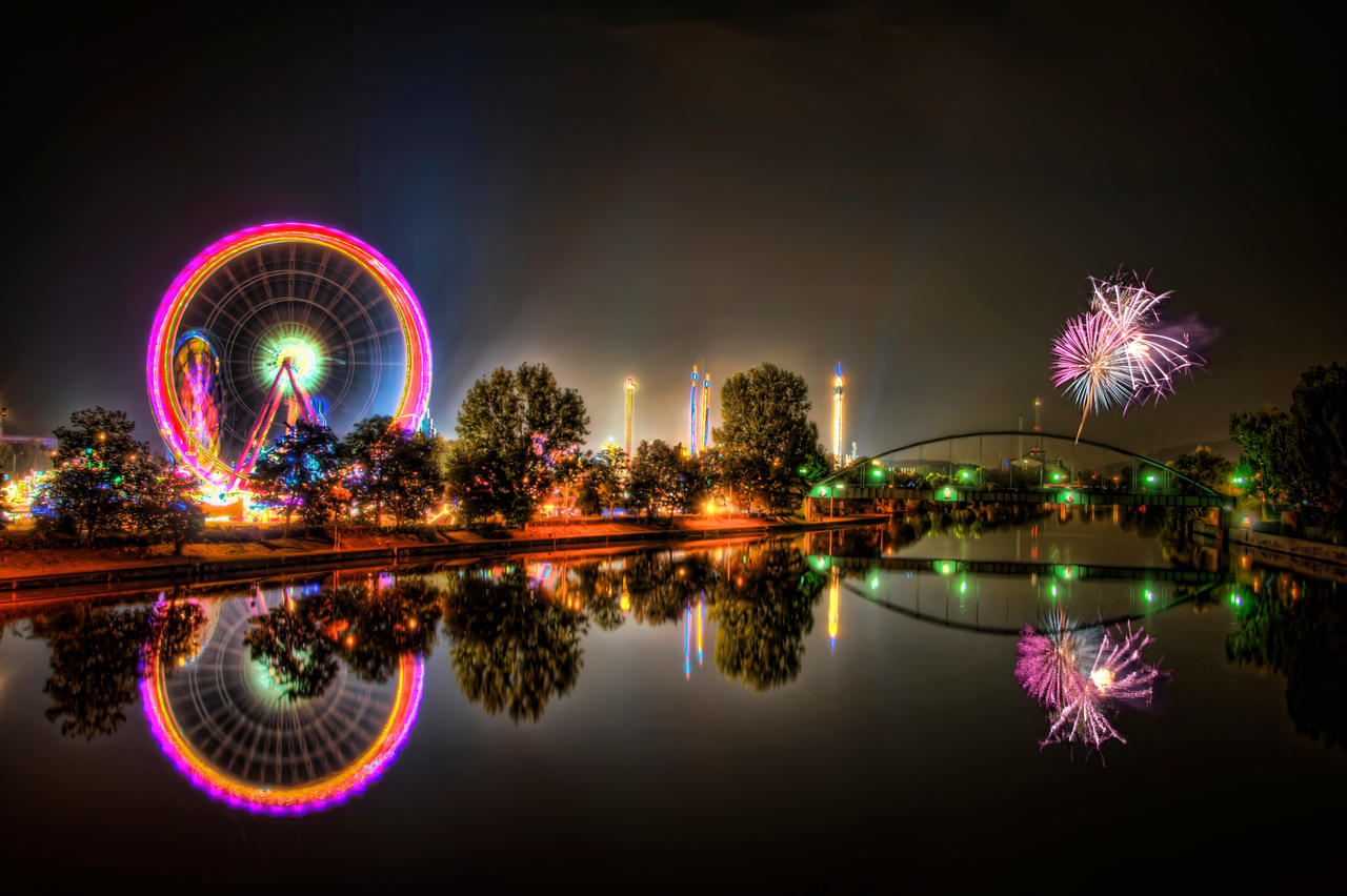 Volksfest HDR Fireworks Manip by Creative--Dragon