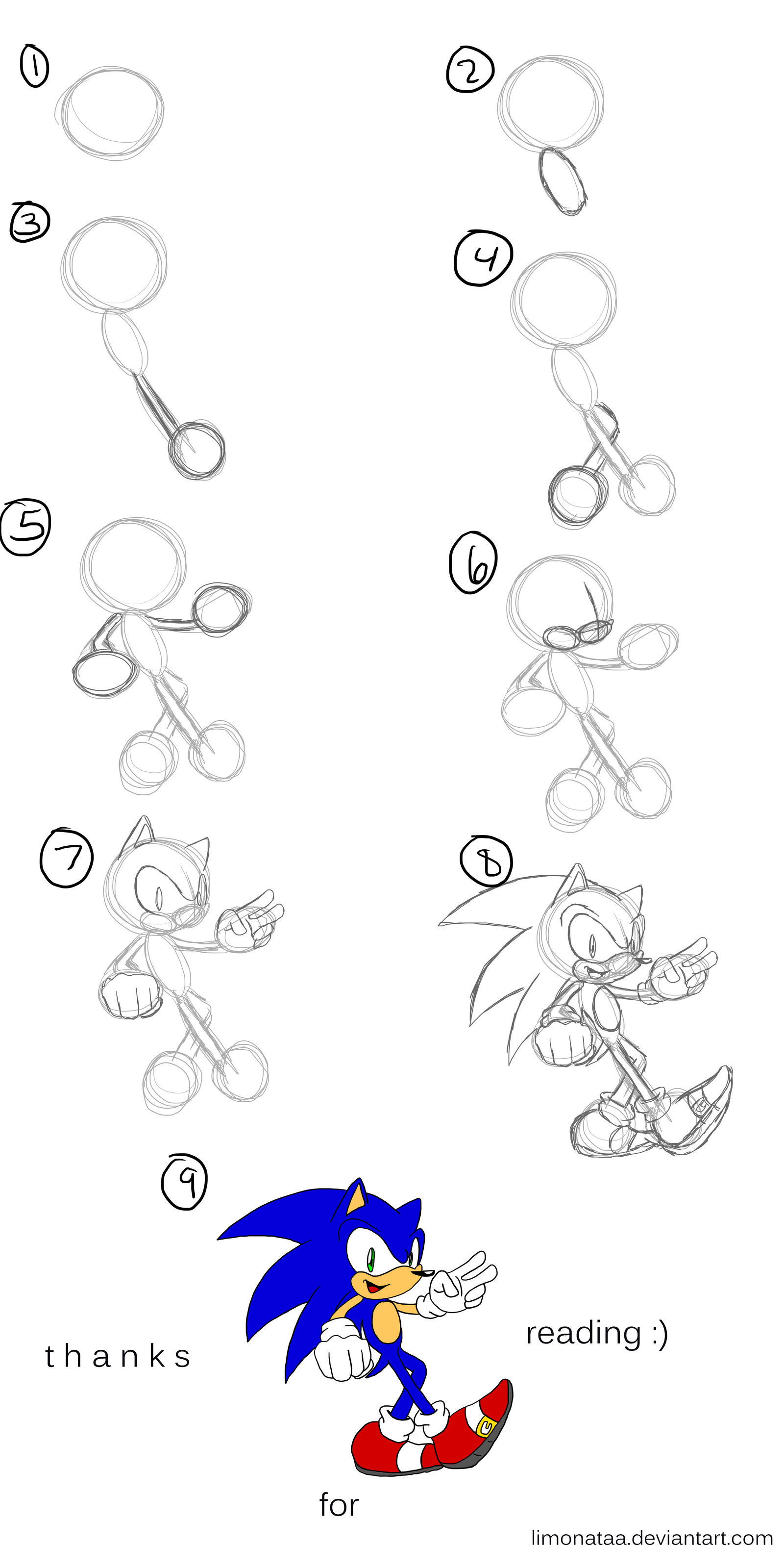 How I Draw Sonic The Hedgehog By Limonataa On Deviantart