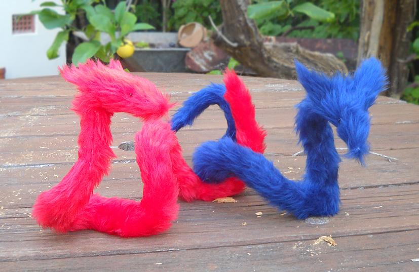 Pipe Foxes Red and Blue by rallamajoop