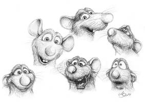 Ratatouille - Remy - facial expressions by SarembaArt