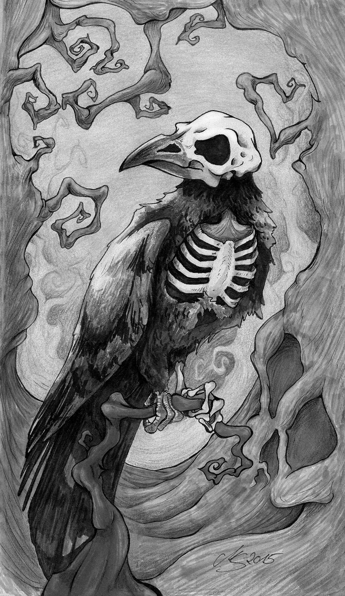 Dark Raven (monochrome) by SarembaArt