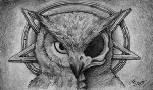 Evil Owl's Skull by SarembaArt