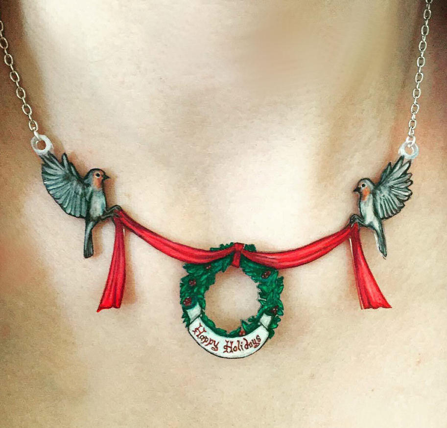Art Original Christmas Robins by Sidhe-Etain