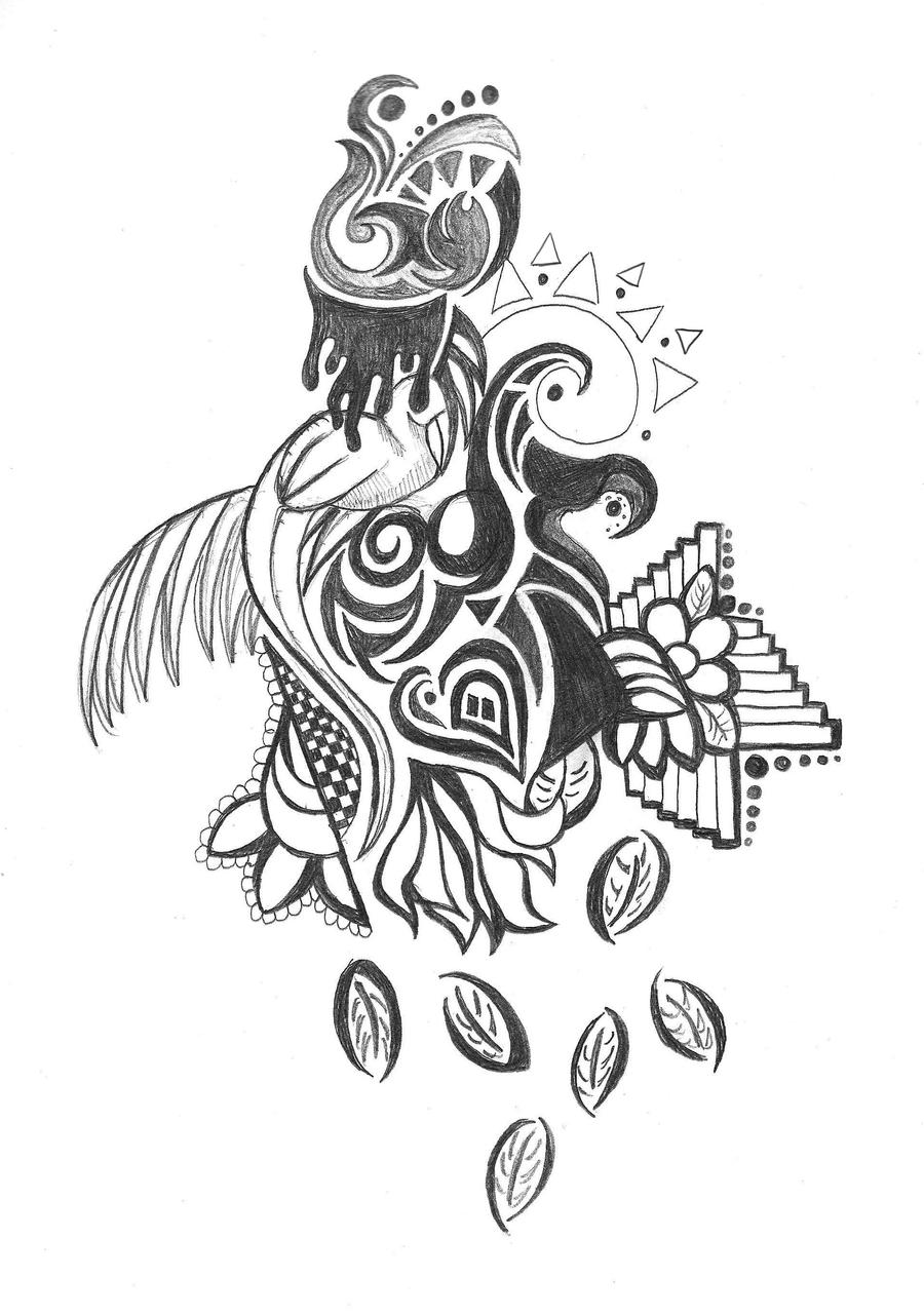 Tropical Drawings Tropical bird doodle by