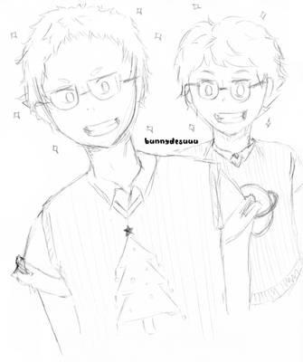 Glasses Oikawa and Yaku by bunnydesuuu