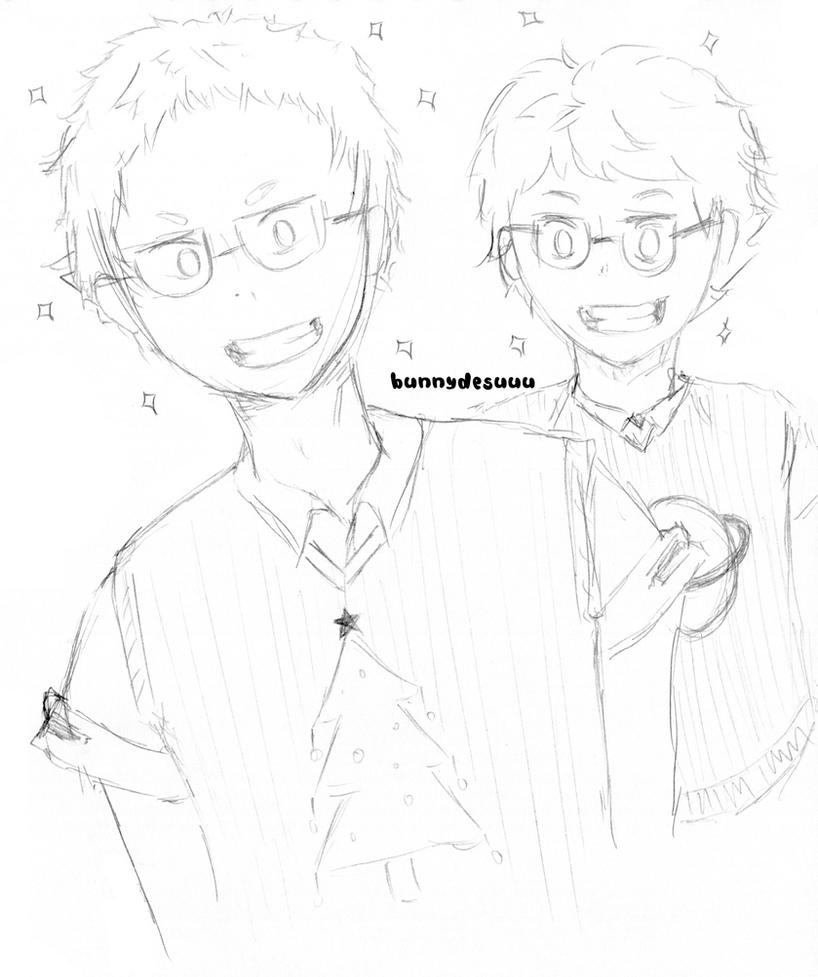 Glasses Oikawa and Yaku by bunnydesuuu