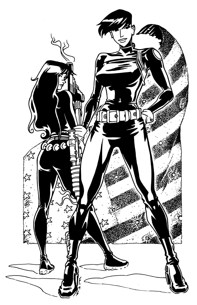 Maria Hill and Black Widow by Fredgri