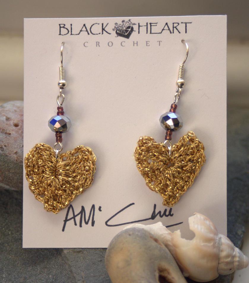 Golden heart crochet earrings by UglyMc