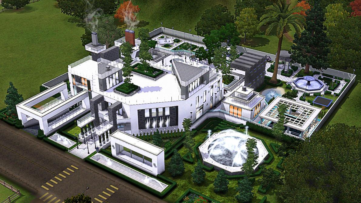 The Sims 3 Modern Minimallist Mansion Concept By