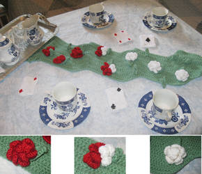 Painting the Roses Red Table Runner by shiribot