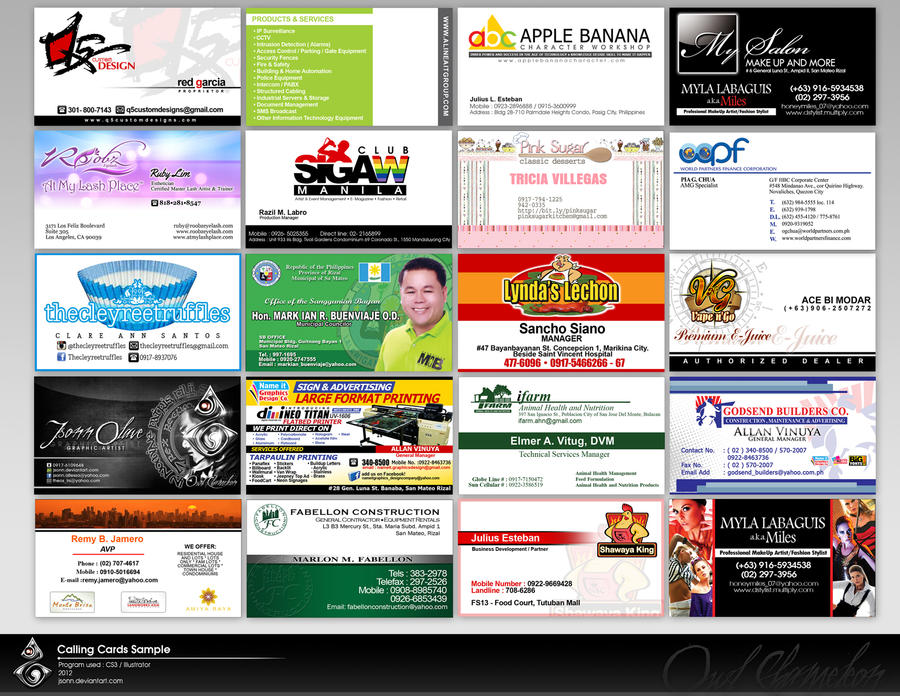 Calling Cards Sample By Jsonn On Deviantart