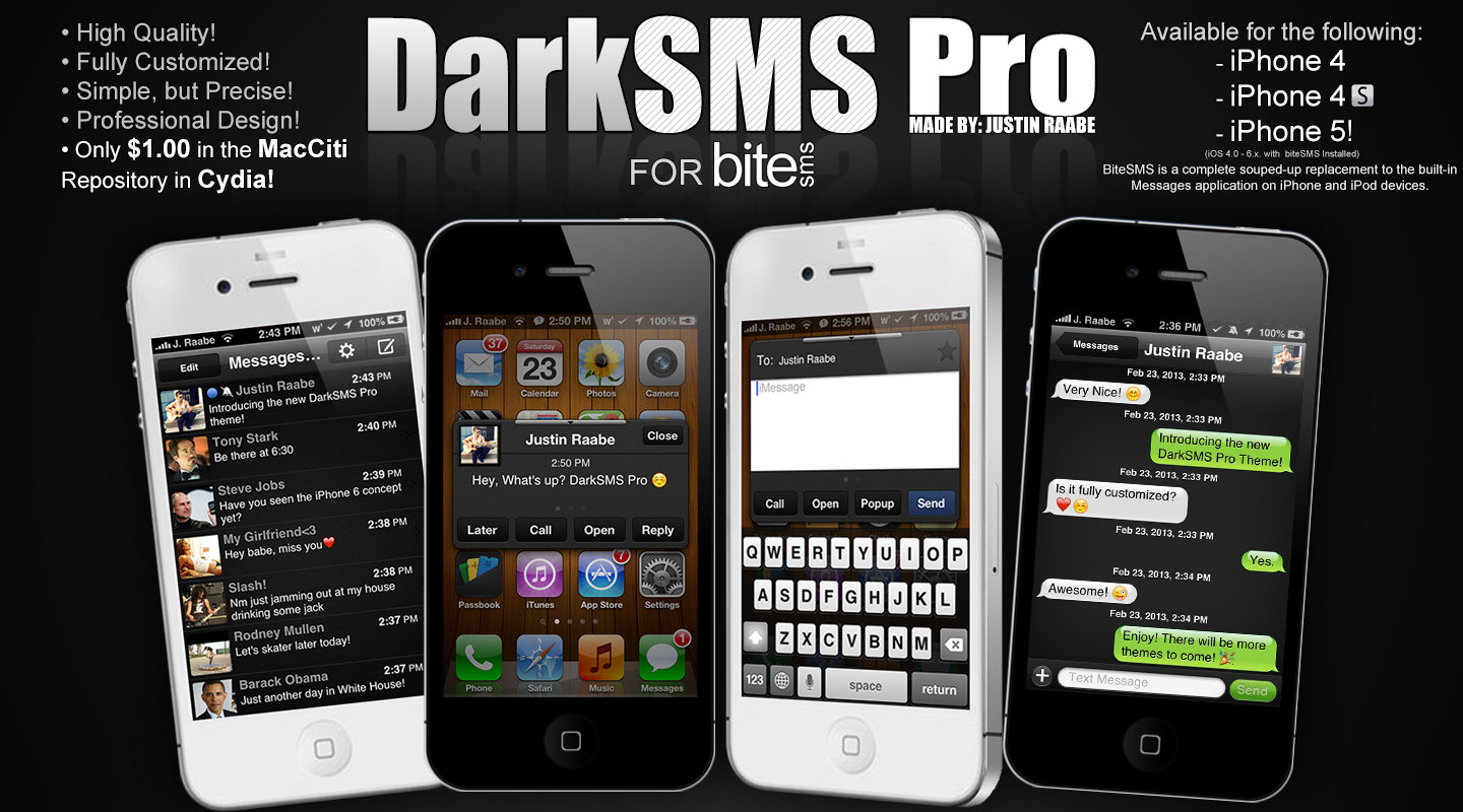 DarkSMS Pro for BiteSMS by JRDigitalDesigns