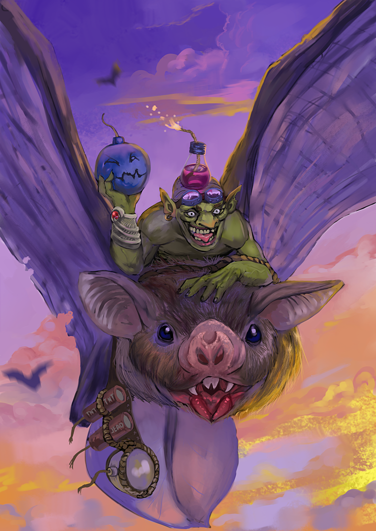 Goblin Bat-rider by Bomb-a-Jead
