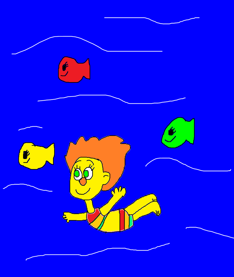 Sunny monster swimming with the fishes by for Swimming with the fishes