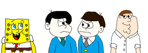 SpongeBob, Peter, Ichimatsu and Karamatsu Looking  by MikeJEddyNSGamer89