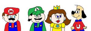 Mario, Luigi and Daisy Meeting Underdog by MikeJEddyNSGamer89