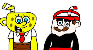 SpongeBob and Mario as Cuphead by MikeJEddyNSGamer89