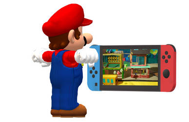 Mario Playing Yoshi's Crafted World