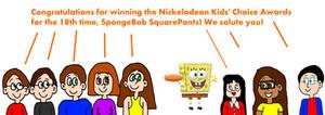 We All Congratulated SpongeBob's 18th KCA Win!