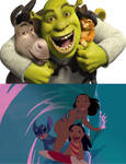 3 Shrek Characters Saw 3 Stitch Characters Surfing