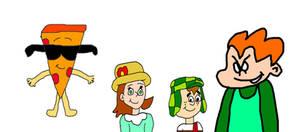 Pizza Steve, Paty, El Chavo and Pico