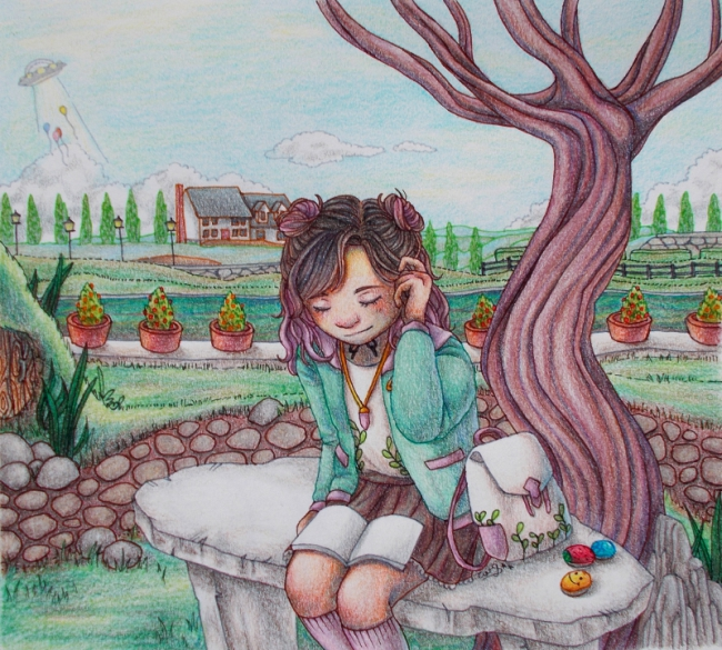 Reading in a Park by UxieWriter