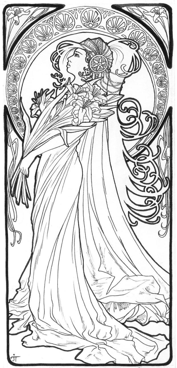 Lineart lis de la madone by itzea on deviantart for Art deco coloring pages for adults