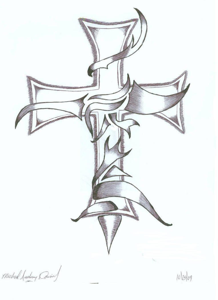 Cross in pen by jessica123456789