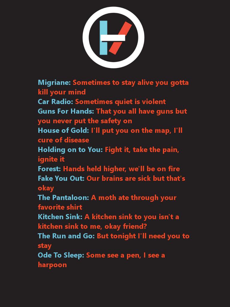 odetosleep kitchen sink lyrics Twenty One Pilots by RainbowSamcat