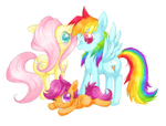 Fluttershy, Dashie and Scootaloo