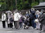 Tourists admiring something