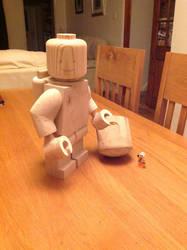 Wooden lego spaceman by Ragskin
