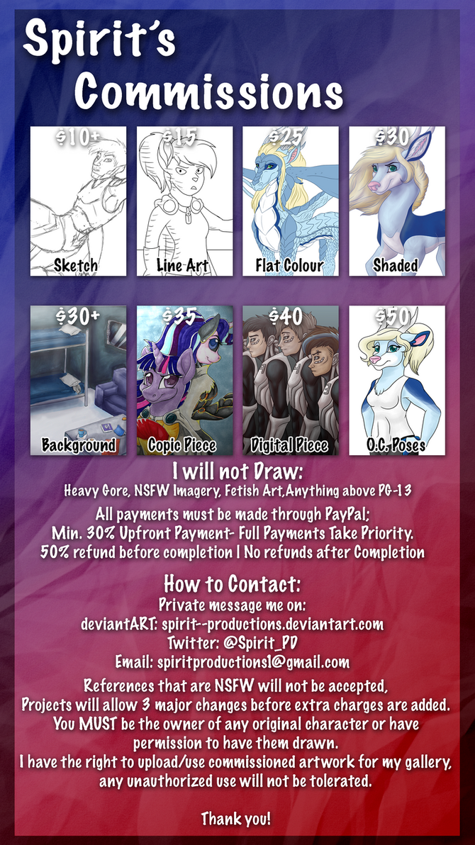Spirit's Commissions CLOSED by Spirit--Productions