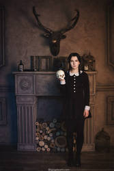 Addams Family. Wednesday and skull by NellieSchwarz