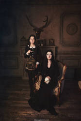 The Addams Family. Morticia and Wednesday by NellieSchwarz