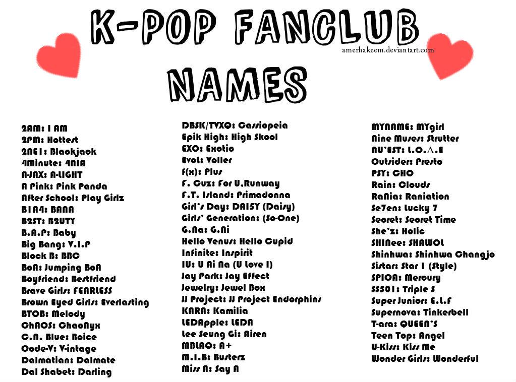 K-pop Fanclub Names by AMerHAkeem on DeviantArt