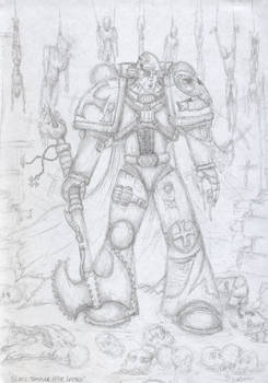 sketch of a space marine