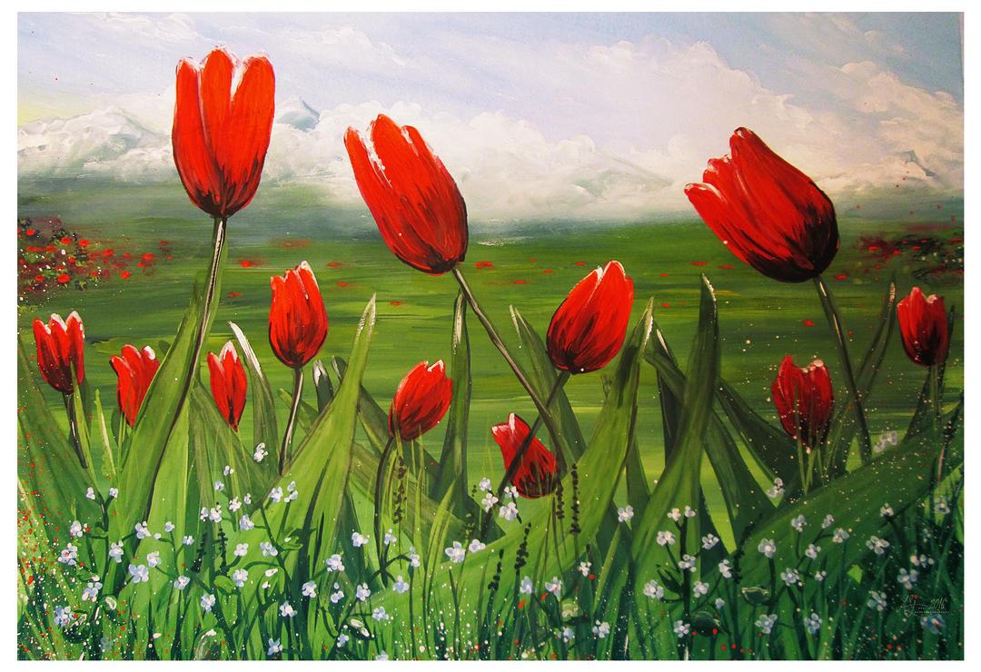 Tulips and Myosotis by Alena-48