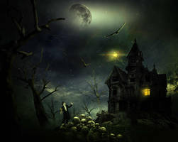 Eerie Haunted House Scene for Halloween by Alena-48