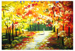 Autumn landscape in the style of Afremov