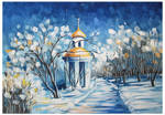 Winter landscape in the style of Afremov